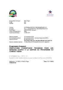 Système de Gestion Environnementale et Sociale (SGES) MCA-Niger – V3