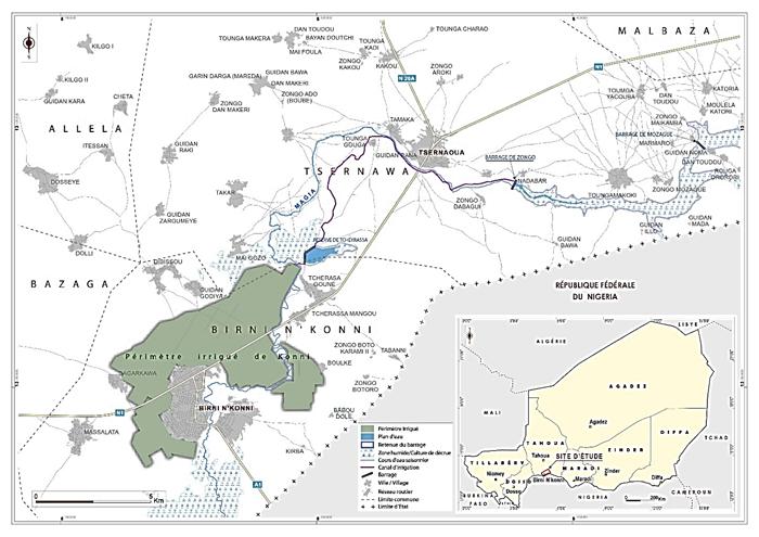 Carte de la zone du projet Konni