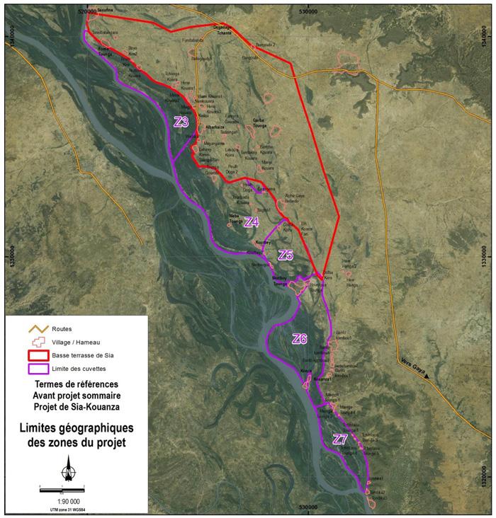 Carte zone de projet Sia-Kouanza