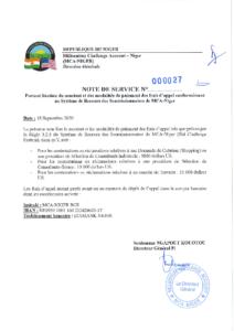 Note de service portant fixation du montant et modalités de paiement des frais d'appel BCS
