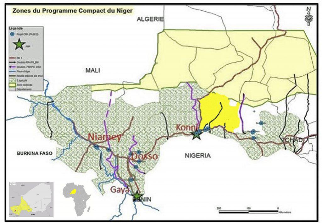 Les zones d'interventions du Compact du Niger
