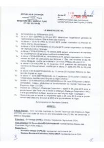 Arrêté N108, nomination des membres du COTEN