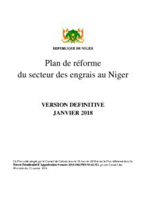 Plan de réforme du secteur des engrais du Niger, finale