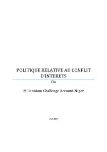 MCA-Niger-Politique-relative-au-Conflit-dintérêts
