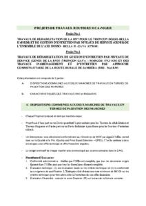 DESCRIPTIFS PROJETS DE TRAVAUX ROUTIERS MCA-NIGER