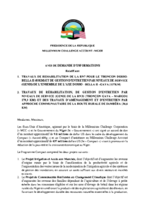 Demande d'Informations – Projets Routes MCA-Niger – web