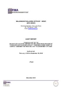MCA-Niger Audit Report of Accounts (Final) – 20.12.2019